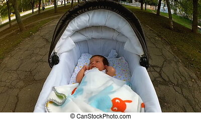 Little cute baby lying in black the baby carriage on the walk in the park