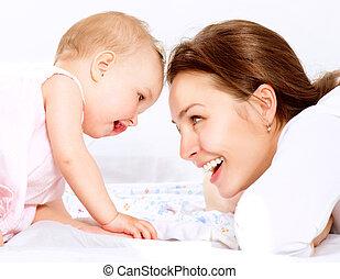 baby., mãe, família, feliz