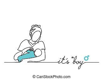 baby., mère, garçon, lettrage, sien, vecteur, illustration, elle