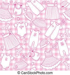 baby, mønster, pige, seamless, klæder