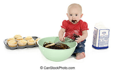 Baby Making Muffins - Baby girl with mixing bowl, chocolate...