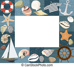 Baby marine photo frame or card. Vector illustration