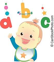 baby meisje, alfabet, spelend