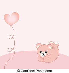 baby meisje, beer, achtergrond, teddy