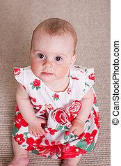baby meisje, bloemen, jurkje, rood