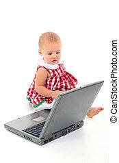 baby meisje, computer