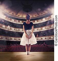 baby meisje, dromen, een, dancing, ballet, op, de, stage., kindertijd, concept.