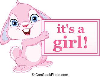 baby meisje, konijntje
