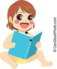 baby meisje, lezende