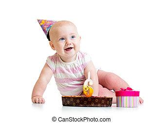 baby meisje, met, verjaardagstaart