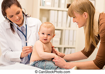 baby meisje, stethoscope, kinderarts, controle
