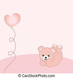 baby meisje, teddy beer, achtergrond