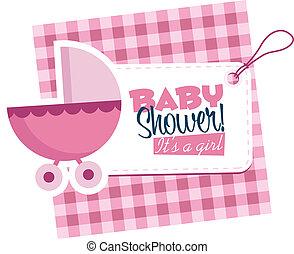 baby meisje, wandelaar, kaart, uitnodiging