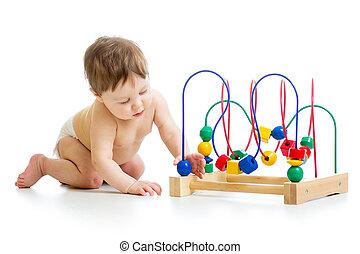 baby met, kleur, onderwijsstuk speelgoed