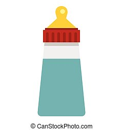 Baby milk bottle icon, flat style