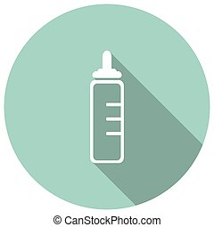 Baby milk bottle icon with long shadow