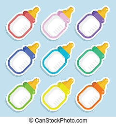 Baby Milk Bottle Stickers - Set of colorful baby milk...