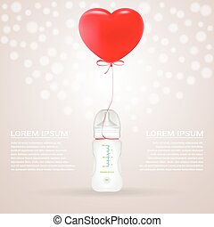 Baby Milk Bottle With Red Baloon In Shape Of Heart Isolated On A Background. Vector Illustration.