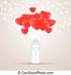 Baby Milk Bottle With Red Baloons In Shape Of Heart Isolated On A Background. Vector Illustration.