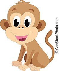 Baby monkey, brown, smiling, vector illustration