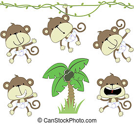 baby monkeys - set of baby monkeys with deaper and palmtree...