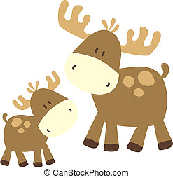 baby moose and parent - childish ilustration of baby deer,...