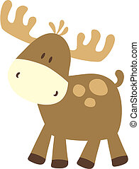 baby moose - childish ilustration of baby deer, very easy to...