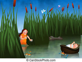 A cartoon illustration of Miriam watching over her baby brother Moses as he drifts down the river nile in a basket.