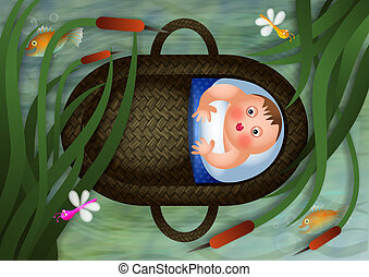 A cartoon illustration of baby Moses drifting down the river nile in a basket.