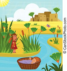 Baby Moses In Basket - Cute illustration of baby Moses on...