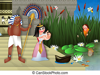 Baby Moses & the Egyptian Princess - A cartoon illustration...