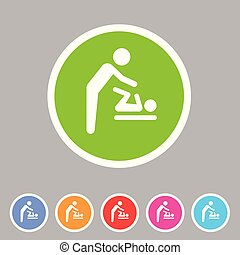 Baby mother care room symbol icon flat web sign symbol logo label