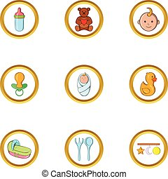 Baby mother icon set, cartoon style