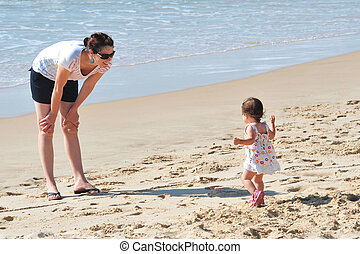 Baby Mother on Beach