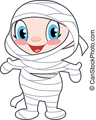 Cute baby dressed as a mummy