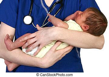 baby, neugeborenes, krankenschwester