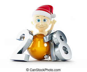 baby new year 2018 on a white background 3D illustration, 3D...