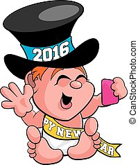 Baby New Year Selfie - A vector illustration of baby New...