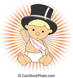 Baby New Year wearing hat sash waving adorable - Baby sits...