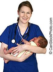 Baby Newborn and Nurse - Beautiful young nurse holding...