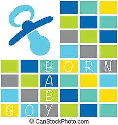 Baby newborn birth announcement card boy with blocks and dummy in blue shades