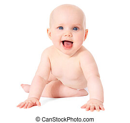 Baby - Newborn child sitting on the ground. All isolated on ...