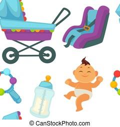 Baby newborn kid and pram perambulator seamless pattern...