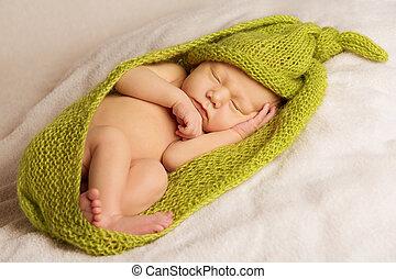 baby newborn portrait, kid sleeping in green woolen blanket on white background