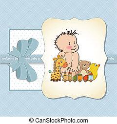 baby, nieuw, jongen, kaart, aankondiging