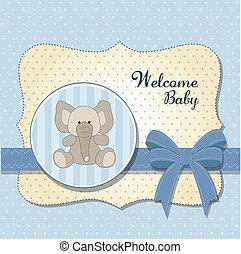 baby, nieuw, kaart, elefant
