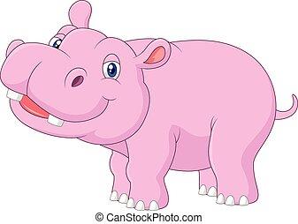 baby, nijlpaard, het poseren, spotprent, vrijstaand