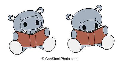 baby, nijlpaard, lezende , set, spotprent