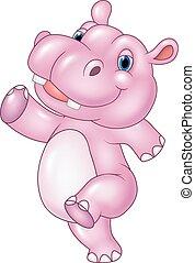 baby, nijlpaard, rennende , spotprent, vrijstaand