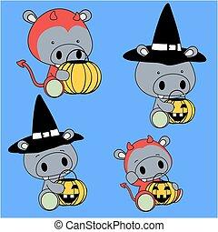 baby, nijlpaard, set, halloween, spotprent
